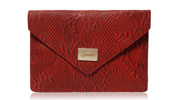 Red envelope clutch croco print cow leather super stylish and ultra slim