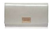 Silver leather clutch creatively designed and super stylish