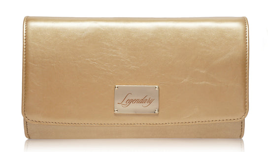 Gold leather clutch creatively designed and super stylish