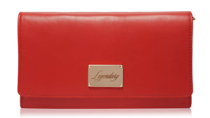 Red leather clutch creatively designed and super stylish