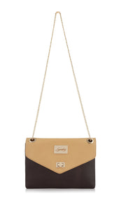 Brown&Beige dual combination multi-carry leather handbag