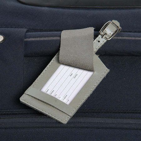 Classic Leather Luggage Tag-Silver
