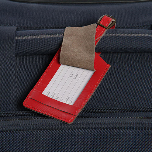 Classic Leather Luggage Tag-Red