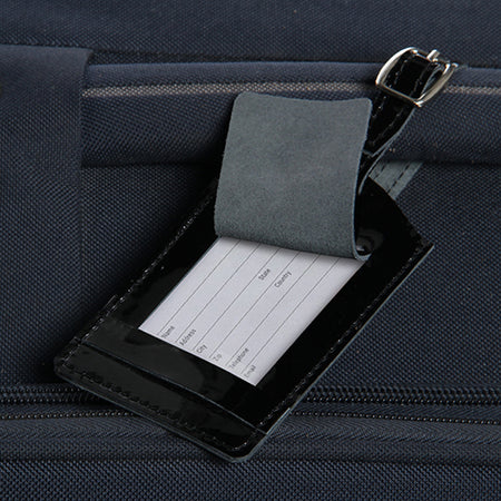 Classic Leather Luggage Tag-Patent Black