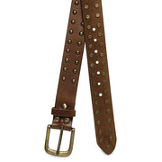 Unisex Studded Design Tan Belt By Legendary Leather