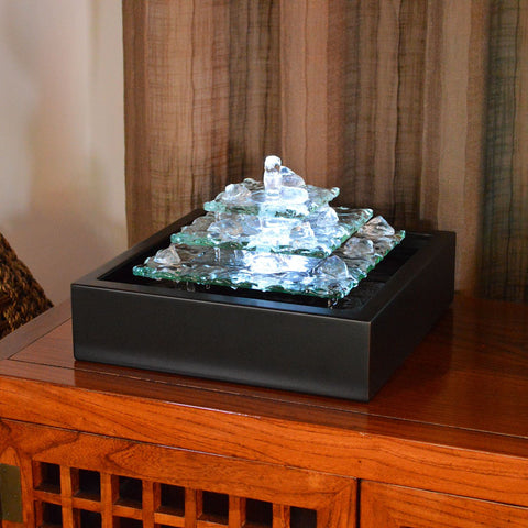 Tabletop Fountain   Bluworld Glacier Ice Lighted Glass Bubbling Tabletop  Water Fountain