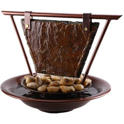Exceptional Tabletop Fountain   Bluworld Haiku Moon Slate Tabletop Water Fountain With  LED Accents