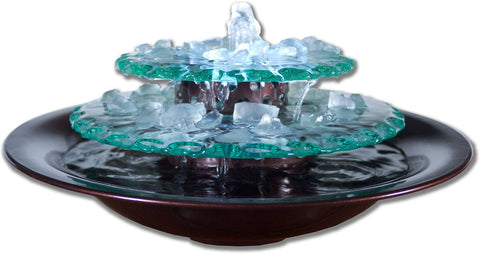 Tabletop Fountain   Bluworld Moon Light Glass Rocks Tabletop Indoor/Outdoor  Fountain With LED Light