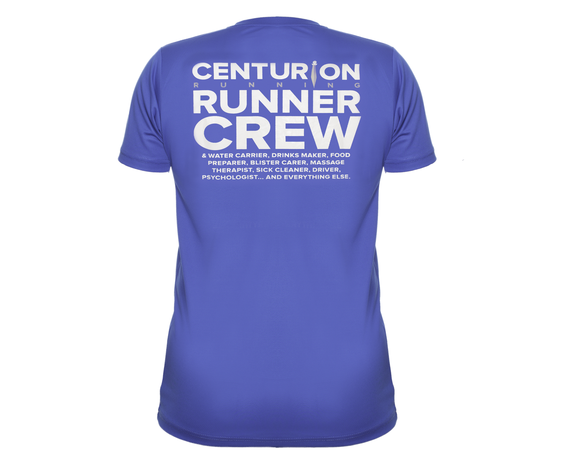 Centurion Running Blue Crew Tee: Mens and Womens