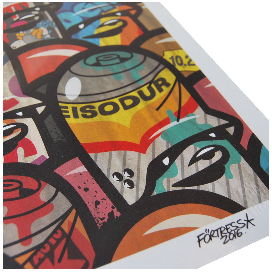 Oldschool Cans print by Flying Fortress