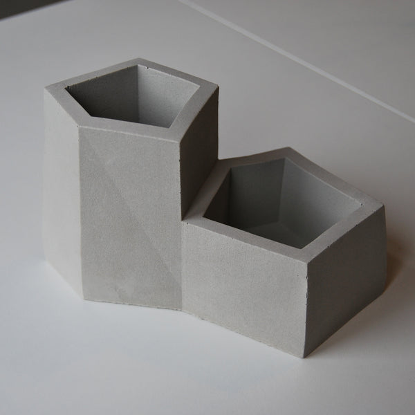 Concrete Grey Stone Desk Tidy Pen Pot Planter