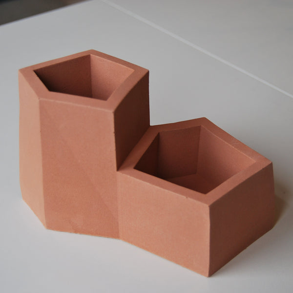 Terracotta Stone Desk Tidy Pen Pot Planter