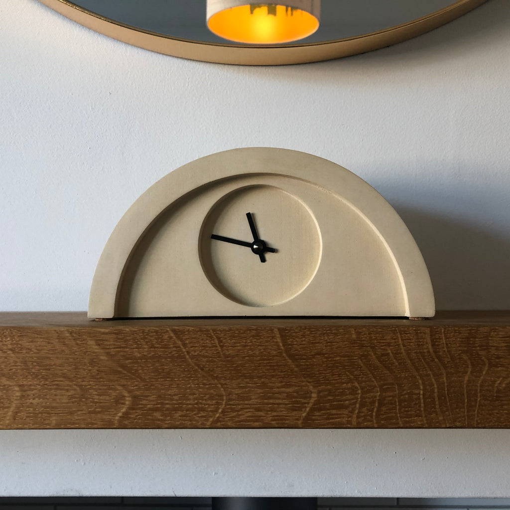 New Deco Clock in Yellow Sandstone