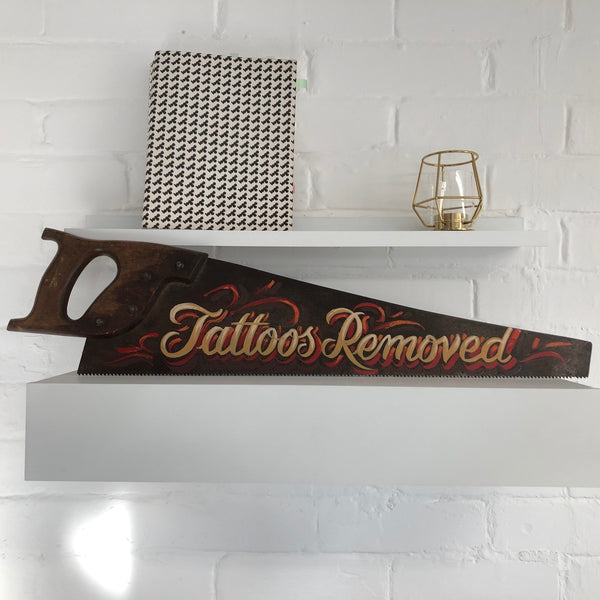 Decorative sign written tattoo art saw #2