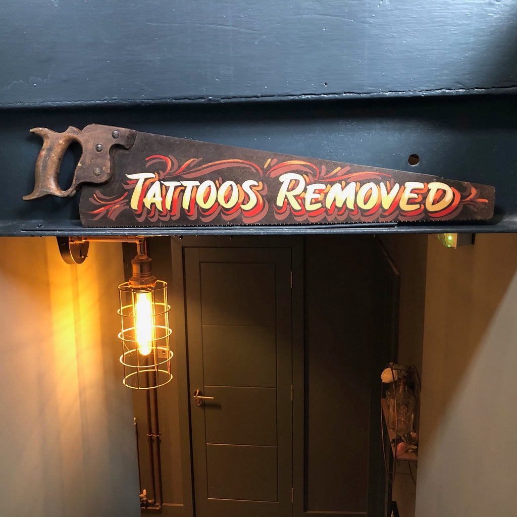 Decorative sign written tattoo art saw #3