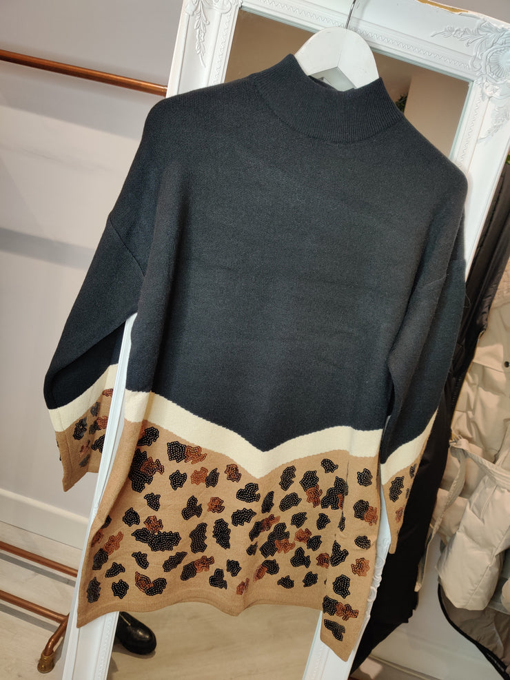 Leopard Panel Jumper