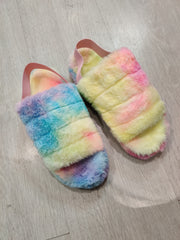 Multicolour fluffy slippers