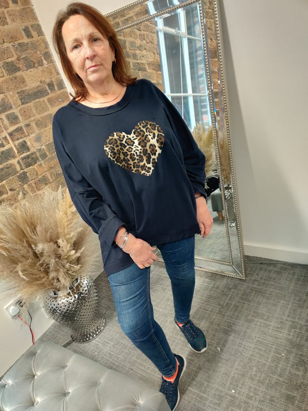 Leopard Heart Top