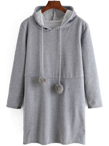 Hooded Drawstring Grey Sweatshirt Dress