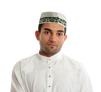 Embroided Design Mens Kufi Skull Cap Topi Hat Muslim Prayer