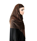 Women's Cotton Glitter Shiny Shimmer Scarf Hijab Shawl Wrap