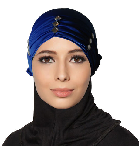 Women Diamante Turban Pleated Cap Bonnet for Under Scarf
