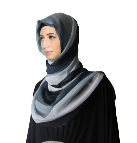 Ladies Soft Lightweight Striped Chiffon Hijab Shawls Scarf