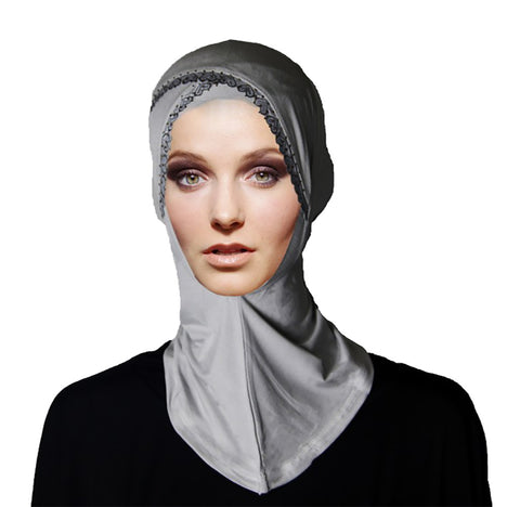 Womens 1 Piece Instant Studded Lace Hijab Scarf