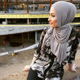 Women Full Cover Cotton Jersey Hijab Stretch Soft Long Scarf Light Grey