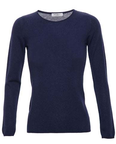 Cashmere-Silk Blend Jumper Sweater - Navy