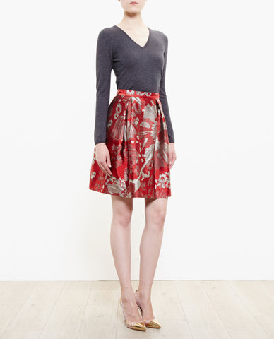 Beth V Floral Jacquard Skirt - Red