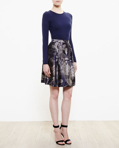 Beth V Floral Jacquard Skirt - Midnight Blue
