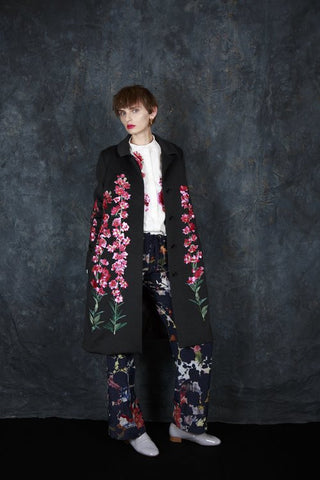 Fern Embroidered Coat - Black