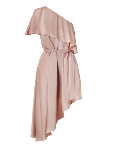 Sueded One Shoulder Dress - Nude