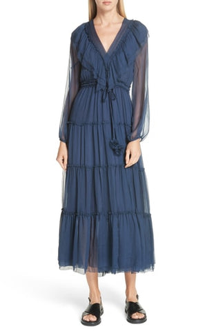 Bluebell V-Neck Dress - Navy