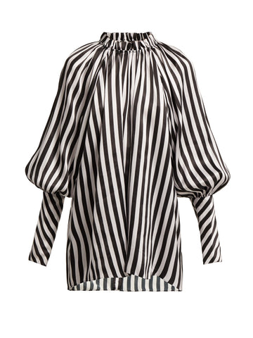 Stripe Silk Satin Shirt