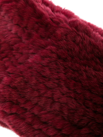 Rex Rabbit Fur Round Snood - Burgundy