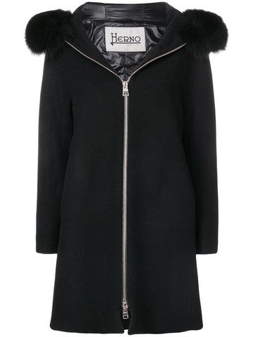 Herno Smart Black Coat Fur Collar