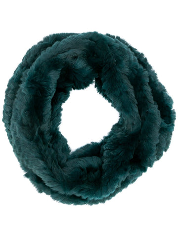 Rex Rabbit Fur Round Snood - Green