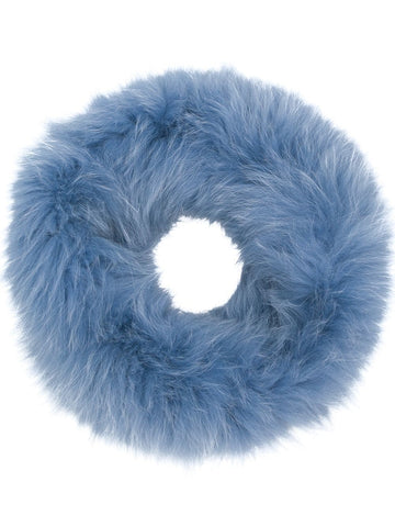 Rex Rabbit Fur Round Snood - Blue
