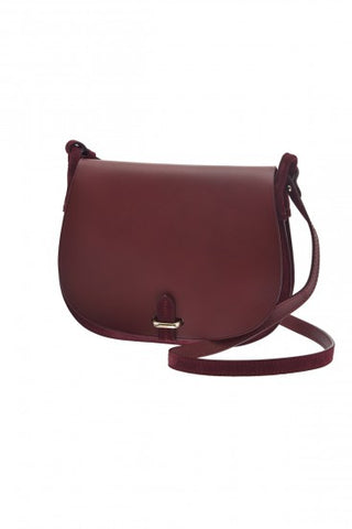 Emma bi-material Shoulder Bag - Burgundy