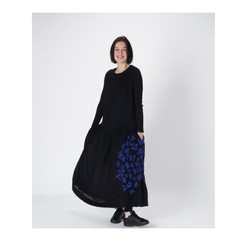 Black Wool Embroidered Skirt