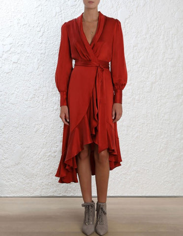 Silk Wrap Dress - Terracotta