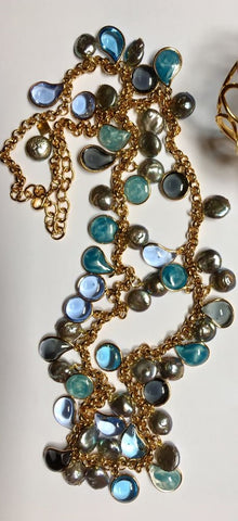 Long Pebble and Pearl Necklace - Multi Blue