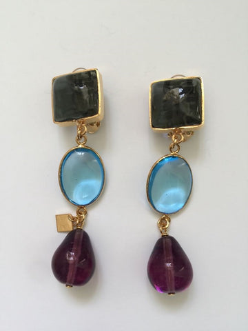 Clip On Pave Pebble & Drop Earrings