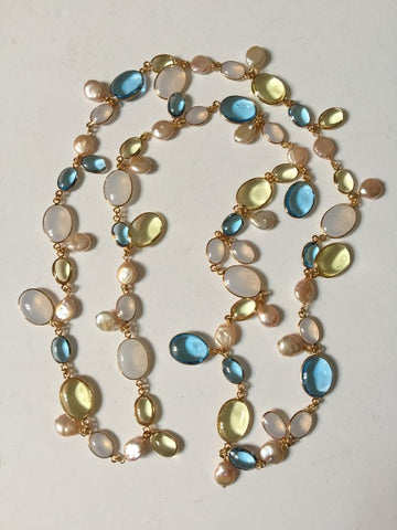 Long Pebble and Pearl Necklace - Aqua Citrine