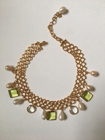 Gold Chocker with Glass Stones and Pearls