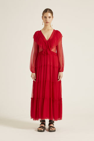 Bluebell V-Neck Dress - Red