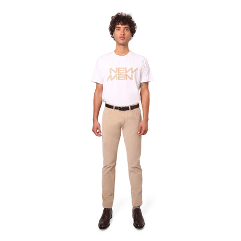 Mens Velvet Stretch Trousers - Beige