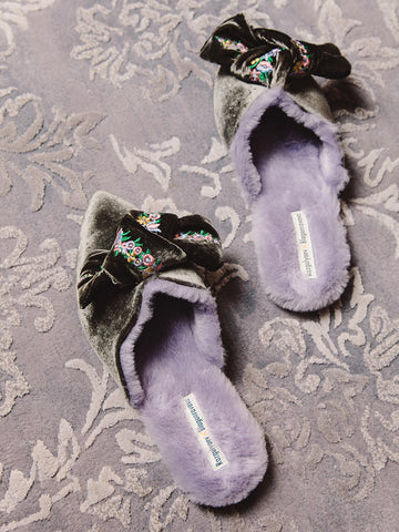 Milana Embroidered Velvet Bow Mules - Grey